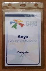 Имя на бейдже должно быть крупным и читаемым. Удачный пример с Международного Конгресса AIESEC