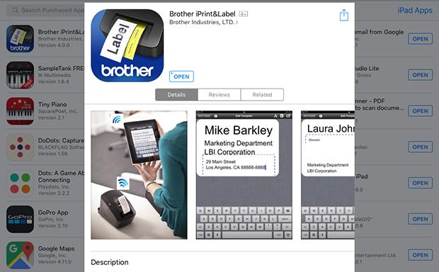 Приложение iPrint&Label доступно в Apple App Store