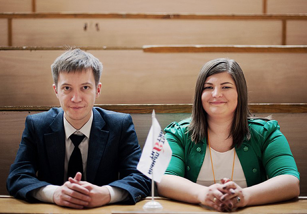 Штаб Тотального диктанта: руководитель проекта Ольга Ребковец и сооснователь и идеолог Егор Заикин