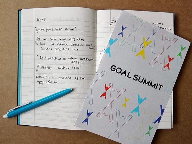 Идеальный размер блокнота и программы конференции: пример пакета делегата с конференции Goal Summit 2016 в Сан-Франциско